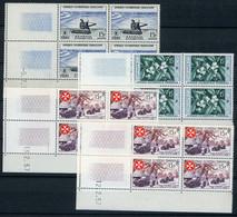 1956 AOF QUATRE BLOCS DE QUATRE AVEC COINS DATES NEUFS SANS CHARNIERES ** TB. - Unused Stamps