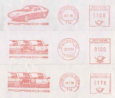 126  Porsche: 3 Ema D'Allemagne, 1989/90 - Porsche Meter Stamps From Stuttgart + Ludwigsburg. Automobile - Cars
