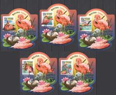 LX566 IMPERF 2015 SIERRA LEONE FAUNA BIRDS FLAMINGOS SILVER OVERPRINT UV CARDBOARD 5BL MNH - Flamingo
