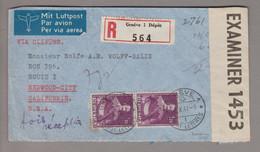 CH 1941-10-09 R-Zensur-Flugpostbrief Nach  Redwood Calif. USA 2x Fr.1.20 Historische - Covers & Documents