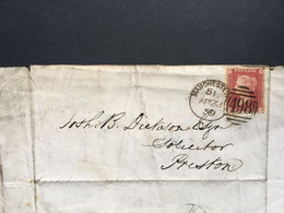 GB Victoria 1d Red Star 1859 Entire - Manchester To Preston - Covers & Documents