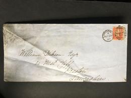 GB Victoria 1d Red Star 1864 Cover With London Duplex To Preston - Long Envelope - Covers & Documents