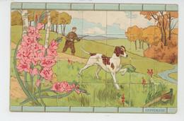 CHASSE - DOG - Jolie Carte Fantaisie Chasseur Et Son Chien - Mois De SEPTEMBRE - PUB Maison BELLANGER GENU - LE MANS - Caccia