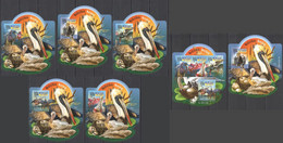 LX559 IMPERF 2015 SIERRA LEONE FAUNA BIRDS WATERBIRDS GOLD OVERPRINT UV CARDBOARD 5BL+1KB+1BL MNH - Marine Web-footed Birds