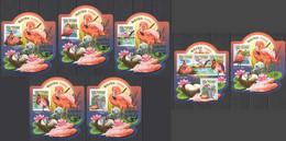 LX566 IMPERF 2015 SIERRA LEONE FAUNA BIRDS FLAMINGOS SILVER OVERPRINT UV CARDBOARD 5BL+1KB+1BL MNH - Flamingo