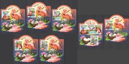 LX567 IMPERF 2015 SIERRA LEONE FAUNA BIRDS FLAMINGOS GOLD OVERPRINT UV CARDBOARD 5BL+1KB+1BL MNH - Flamingo