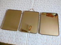 Triptique Miroir Vintage à Suspendre Ou à Poser Modèle Moyenne Taille 18 X 24 Cm 3 Fois - Miroirs