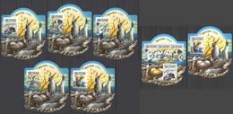LX591 IMPERF 2015 SIERRA LEONE FAUNA BIRDS SEABIRDS GOLD OVERPRINT UV CARDBOARD 5BL+1KB+1BL MNH - Marine Web-footed Birds