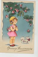 """ENFANTS - DOG - Jolie Carte Fantaisie Fillette Fleurs Fer à Cheval Chien De """"Heureux Anniversaire """" - IDA 638 - Children's Drawings"""