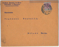 59481 -   CYPRUS - POSTAL HISTORY:  COVER To ITALY - 1922 - Cyprus (...-1960)