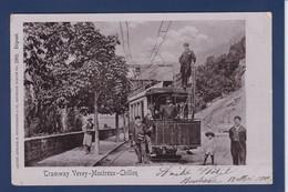 CPA Suisse Helvétia Schweiz Tramway Vevey Montreux Chillon Circulé Voir Dos - Sonstige