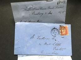 GB Victoria 1875 Entire Banbury Duplex To Preston Tied With 1d Red Plate 166 - Covers & Documents