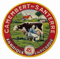 Etiquette Neuve De CAMEMBERT Du SANTERRE Fabriqué En Picardie  CENSIER Frères  ARVILLERS - Cheese