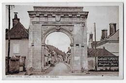 """Cpa Bon Etat , Bar-sur-seine , La Porte De Chatillon , """"pub Garage De La Poste"""" Timbre Courrier Au Verso - Bar-sur-Seine"""