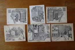 """6 Enveloppes 1900 à Décor """"place Pour Le Timbre""""  2 Pour Militaires - Collections"""