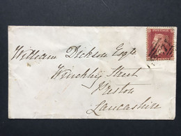 GB Victoria 1863 Cover Hitchin To Preston With London Transit Mark Tied With 1d Red Star - Covers & Documents