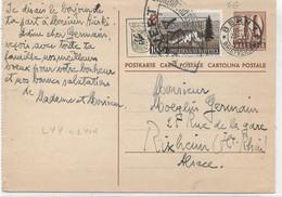 SUISSE -  N° 420 / ENTIER Carte Postale Pour LA FRANCE - Covers & Documents
