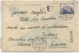 SUISSE -  P A N° 27 / LETTRE Pour La FRANCE ( Istres ) - Covers & Documents