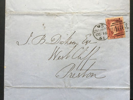 GB Victoria 1861 Entire Liverpool Duplex To Preston Tied With 1d Red Star - Covers & Documents