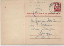 SUISSE -  CARTE POSTALE ( ENTIER)Pour LA FRANCE ( Limoges ) - Covers & Documents
