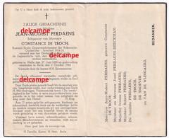 Oorlog Guerre Jean Perdaens Welle Rijkswacht Gendarmerie Oudstrijder Wo1 En Overleen Te Aalst 1946 De Troch - Images Religieuses