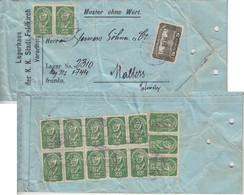 Österreich - 5 K. Parlament U.a. Muster Ohne Wert I.d. SCHWEIZ Feldkirch Malters - Briefe U. Dokumente