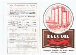 Document Publicité DELC'OIL - Compagnie HUILES DELCO MARSEILLE - Tarif - Reclame