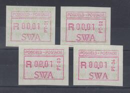 Südwestafrika FRAMA-ATM 4 Aut.-Nr. PT-01 Bis PT-04 Kpl.  Mi.-Nr. 1.1 - 1.4 ** - Affrancature Meccaniche/Frama