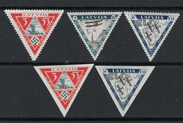 LETTONIA 1933 ✈ Aereo ✈ Beneficio Aviatori Feriti ❌ N. A30 /32 * - Cat. 225 € Dent. E NON Dent. - Lotto 105 C - Letonia