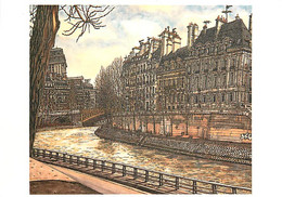 Art - Peinture - Kojiro Akagi - Quai D'Anjou Et Ile Saint-Louis - Collection Le Paris D'Akagi - CPM - Carte Neuve - Voir - Pintura & Cuadros