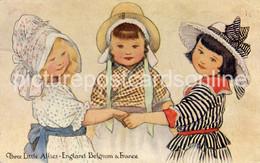 THREE LITTLE ALLIES ENGLAND FRANCE AND BELGIUM OLD COLOUR POSTCARD WW1 NICE PATRIOTIC POSTCARD - Patrióticos