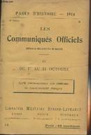Pages D'Histoire - 1914 - 3e Série - N°12 - Les Communiqués Officiels Depuis La Déclaration De Guerre - IV - Du 1er Au 3 - Guerra 1914-18