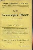 Pages D'Histoire - 1914-1916 - 3e Série - N°104 - Les Communiqués Officiels Depuis La Déclaration De Guerre - XIX - Mars - Guerra 1914-18