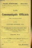 Pages D'Histoire - 1914-1916 - 3e Série - N°97 - Les Communiqués Officiels Depuis La Déclaration De Guerre - XVIII - Jan - Guerra 1914-18