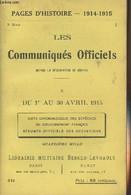 Pages D'Histoire - 1914-1915 - 3e Série - N°49 - Les Communiqués Officiels Depuis La Déclaration De Guerre - X - Du 1er - Guerra 1914-18
