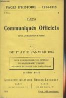 Pages D'Histoire - 1914-1915 - 3e Série - N°35 - Les Communiqués Officiels Depuis La Déclaration De Guerre - VII - Du 1e - Guerra 1914-18
