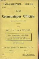 Pages D'Histoire - 1914-1915 - 3e Série - N°42 - Les Communiqués Officiels Depuis La Déclaration De Guerre - VIII - Du 1 - Guerra 1914-18