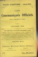 Pages D'Histoire - 1914-1916 - 3e Série - N°121 - Les Communiqués Officiels Depuis La Déclaration De Guerre - XXIV - Oct - Guerra 1914-18