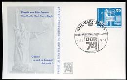 DDR PP17 C2/008 Privat-Postkarte GALILEO GALILEI Skulptur CREMER Chemnitz Sost. 1974  NGK 5,00 € - Privatpostkarten - Gebraucht