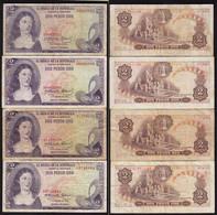 Kolumbien - Colombia 4 Stück á 2 Peso Oro 1973 Pick 413a Gebraucht    (15264 - Altri – America