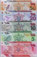 Trinidad & Tobago Set 5 PCS 1 5 10 20 50 Dollar 2020/2021 Polymer P NEW UNC - Trindad & Tobago