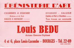 Buvard Louis BEDU à Bourges (18) - Ebénisterie D' Art - Place Louis-Lacombe 1950 - M