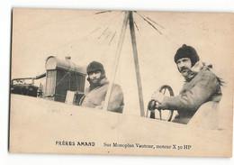 Les Frères AMAND Carte Photo BE Très Rare Sur Monoplan Vautour Moteur X 50 HP Carte Photo - Piloten