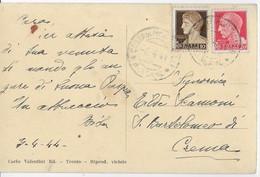 STORIA POSTALE R.S.I. - CARTOLINA ILLUSTRATA DA COSTA DI MONTICELLI (BG) 08.04.1944 PER CREMA - Marcofilía