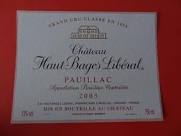 Etiquette Neuve Château Haut Bages Libéral 2003 Grand Cru Classé Pauillac - Bordeaux