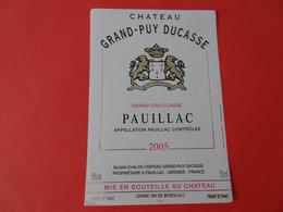 Etiquette Neuve Château Grand Puy Ducasse 2005 Grand Cru Classé Pauillac - Bordeaux