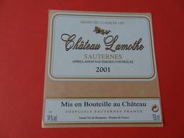 Etiquette Neuve Château Lamothe 2001 Grand Cru Classé Sauternes - Bordeaux