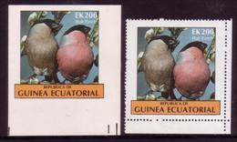 Equatorial Guinea 1977 Bull Finch - Imperf Proof + Issued Stamp - Sperlingsvögel & Singvögel