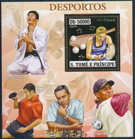 D - [401414]TB//**/Mnh-Sao Tomé-et-Principe 2006 - Les Sports, Tennis De Table, Golf, Echecs, Karaté, Or - Table Tennis