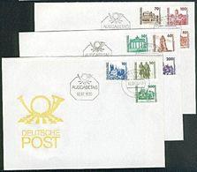 DDR FDC 3344-3352 3 FDC Mit DM-Ausgabe Freimarken Mit Meißen Schwerin Semperoper (Muster-Abb.) - FDC: Briefe